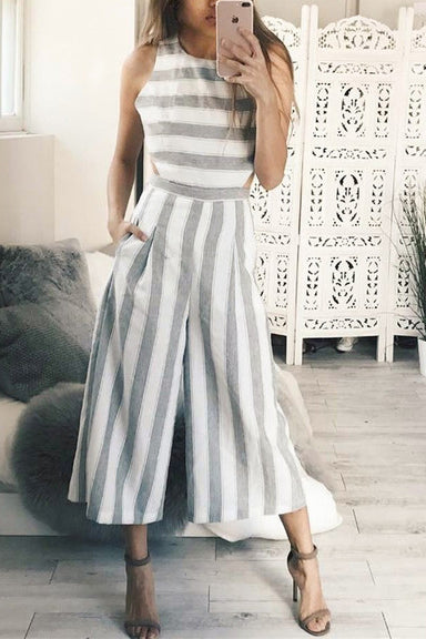 A| Chicloth European Summer Striped Loose Jumpsuits
