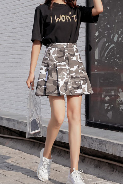A| Chicloth Fashion Camouflage Single Breasted Skirt