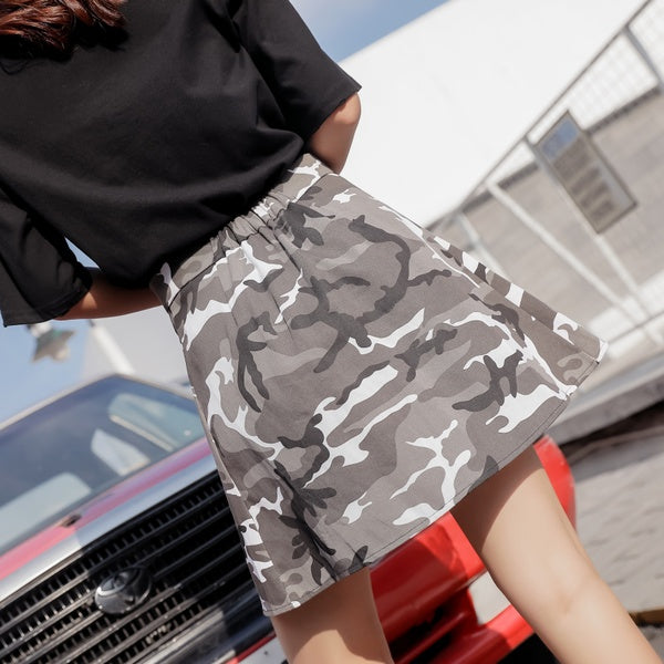 A| Chicloth Fashion Camouflage Single Breasted Skirt-Chicloth