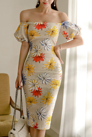 A| Chicloth Sexy Boat Neck Floral Bodycon Dresses