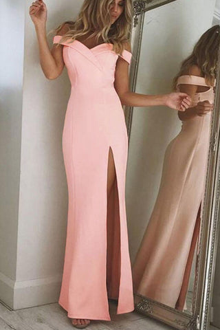 A| Chicloth Sexy Off Shoulder Slit Bodycon Dresses