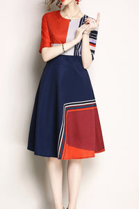 A| Chicloth Euro Printing Color Block Dresses