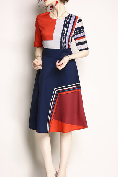 A| Chicloth Euro Printing Color Block Dresses-Chicloth