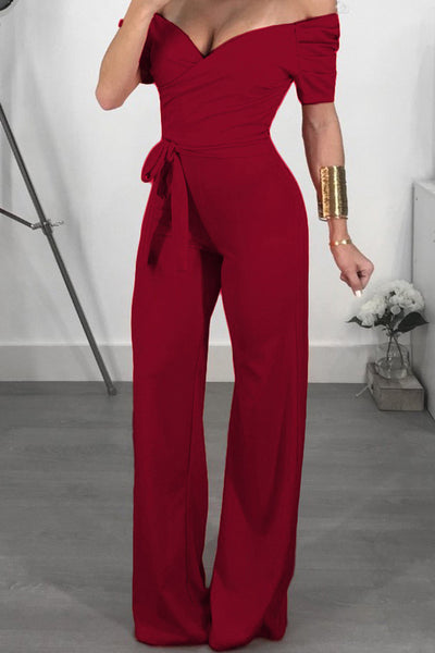 A| Chicloth Sexy Solid Color Off Shoulder Jumpsuits-Jumpsuits-Chicloth