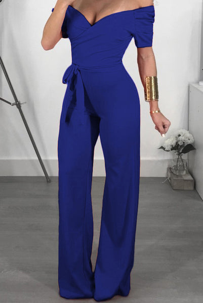 A| Chicloth Sexy Solid Color Off Shoulder Jumpsuits