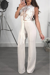 A| Chicloth Sexy Lace Patchwork Perspective Palazzo Jumpsuits-Jumpsuits-Chicloth