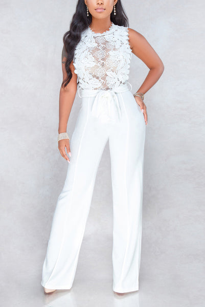 A| Chicloth Sexy Lace Patchwork Perspective Palazzo Jumpsuits