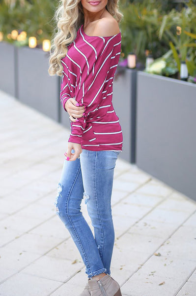 A| Chicloth Casual Off Shoulder Bat Sleeve Striped Loose T-Shirt