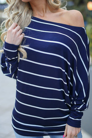 A| Chicloth Casual Off Shoulder Bat Sleeve Striped Loose T-Shirt-T-shirts-Chicloth