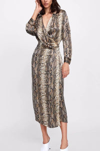 A| Chicloth New Arrival Snake Print V Neck Women Dress Maxi Dresses