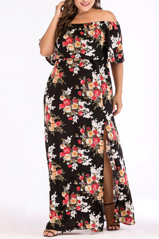 A| Chicloth Off Shoulder Floral Split Maxi Dresses For Women