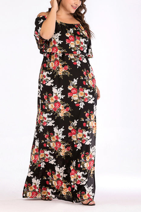 A| Chicloth Off Shoulder Floral Split Maxi Dresses For Women-Plus Size Dresses-Chicloth