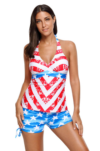 Chicloth Patriot American Flag Pattern Halter Tankini Swimsuit