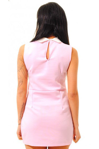 Chicloth Pink Contrasting Collared Bodycon Dress-Chicloth