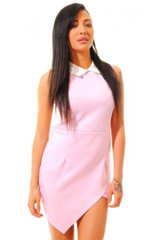 Chicloth Pink Contrasting Collared Bodycon Dress