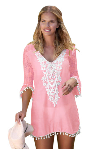 A| Chicloth Pink Crochet Pom Pom Trim Beach Tunic Cover Up-Cover Ups-Chicloth