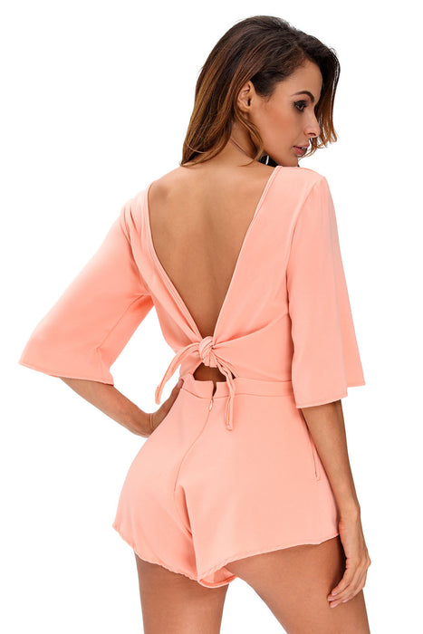Chicloth Pink Drawstring Knot Open Back Romper-Jumpsuits & Rompers-Chicloth