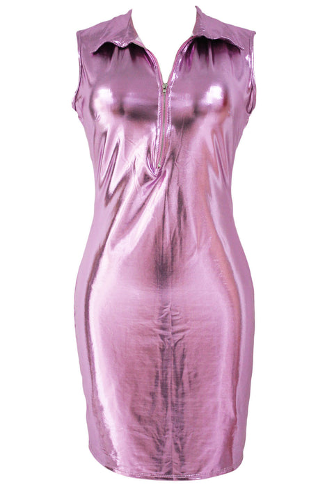 Chicloth Pink Faux Leather Zip Front Bodycon Dress-Chicloth