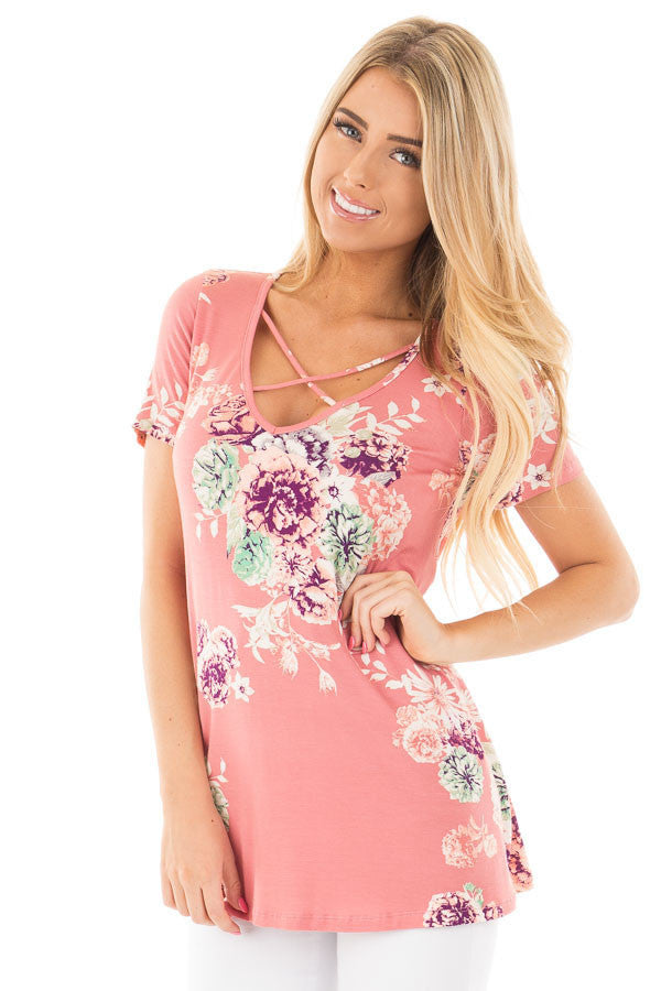 Chicloth Pink Floral Crisscross Neck Detail Short Sleeve Top-Blouse-Chicloth