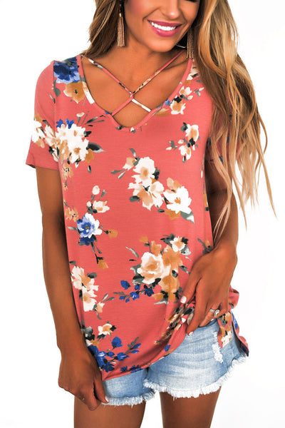 Chicloth Pink Floral Print Crisscross V Neck Casual Shirt