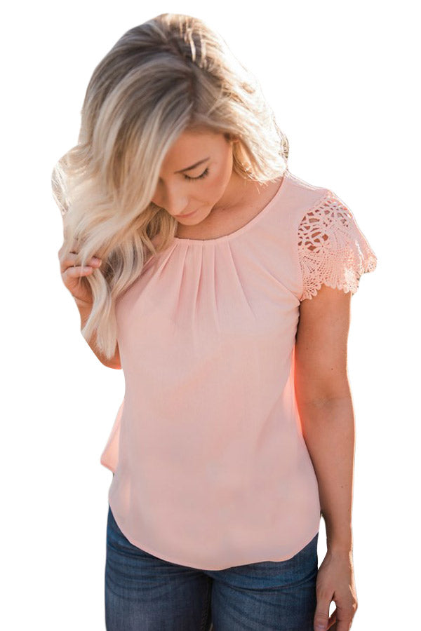Z| Chicloth Pink Lace Sleeve Front Pleat Blouse-Chicloth