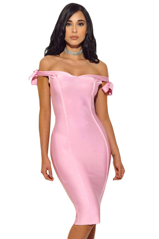 B| Chicloth Pink Off The Shoulder Sexy Bodycon Bandage Dress with Tie Bow