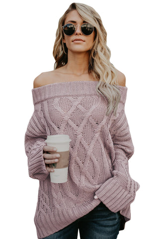 A| Chicloth Pink Off The Shoulder Winter Sweater-Sweaters-Chicloth