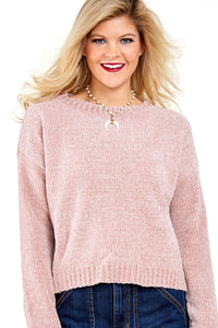 Z| Chicloth Pink Round Neck Velvet Cropped Sweater-Chicloth