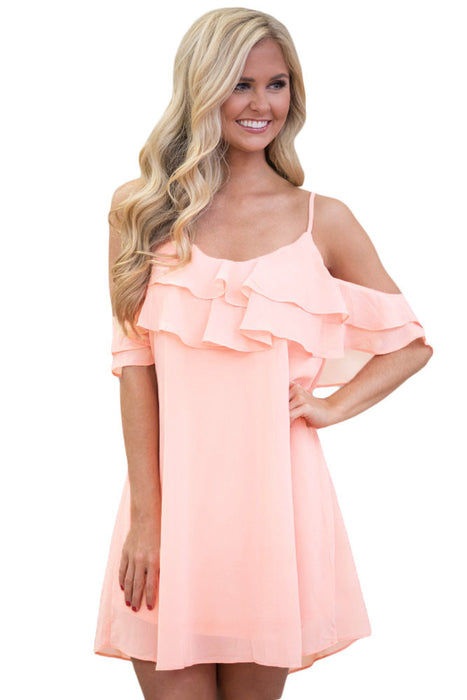 Chicloth Pink Ruffle Double Layered Short Dress-Mini Dresses-Chicloth