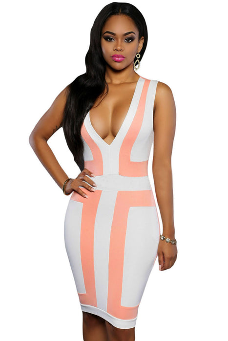 Chicloth Pink White Color-block V Neck Sleeveless Dress-Chicloth
