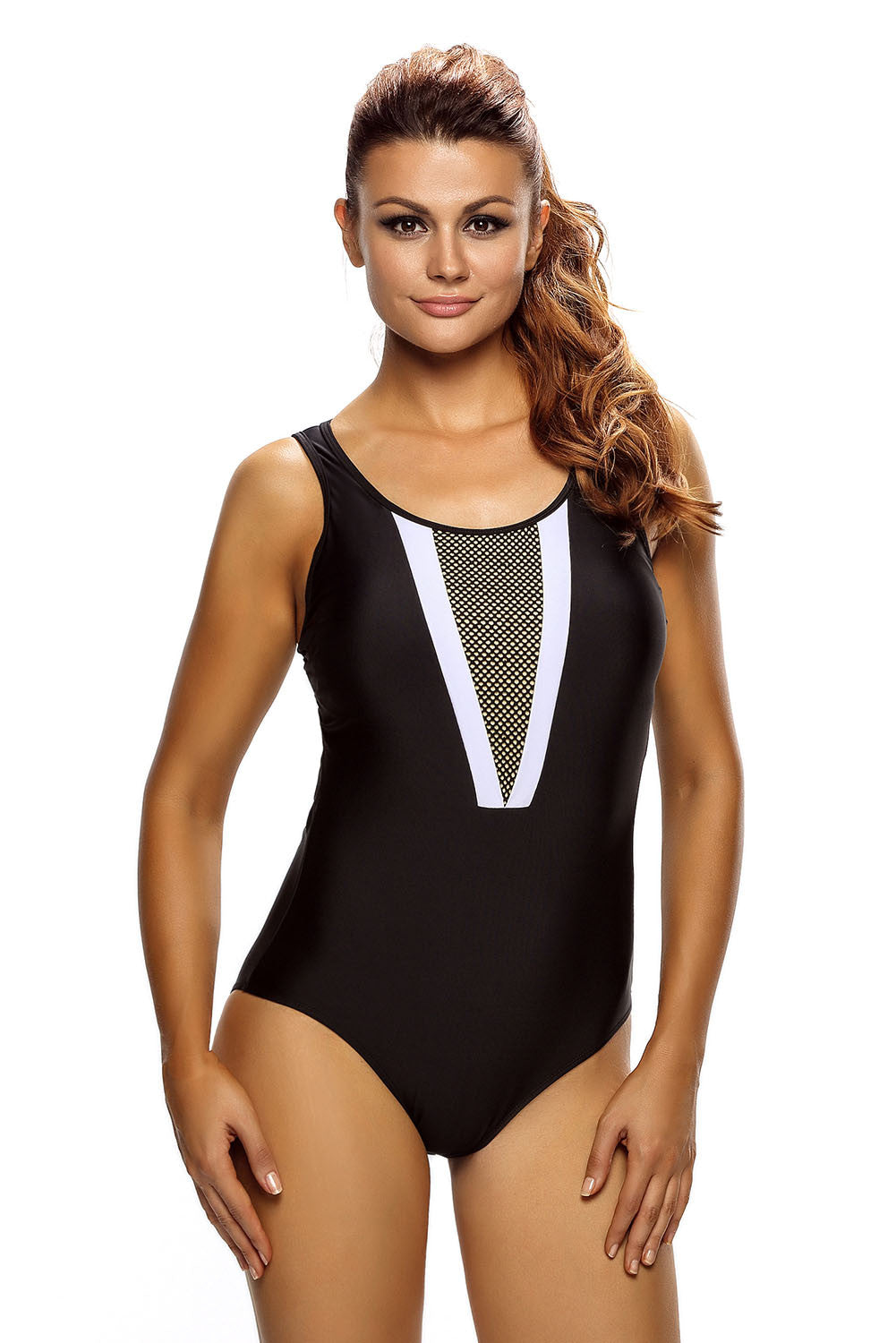Chicloth Plunging V Mesh Splicing Accent Teddy Swimsuit - (US 4-6)S / Black Dearlover