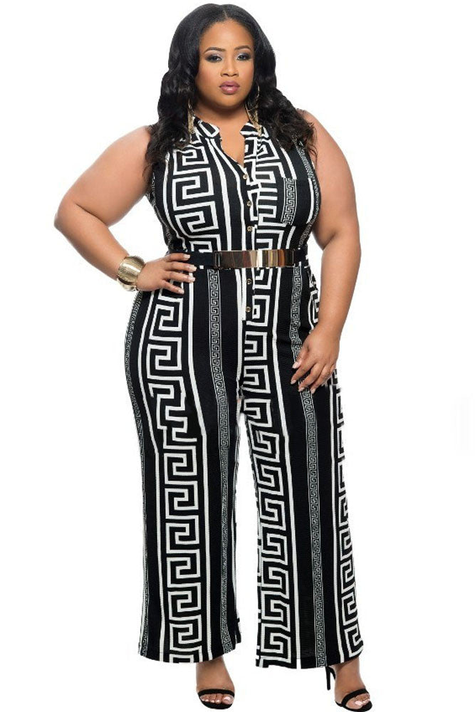 e51c5e4774524 Chicloth Plus Size Black Print Gold Belted Jumpsuit
