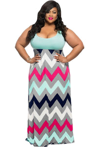 Chicloth Plus Size Light Blue Top Multicolor Zigzag Maxi Dress