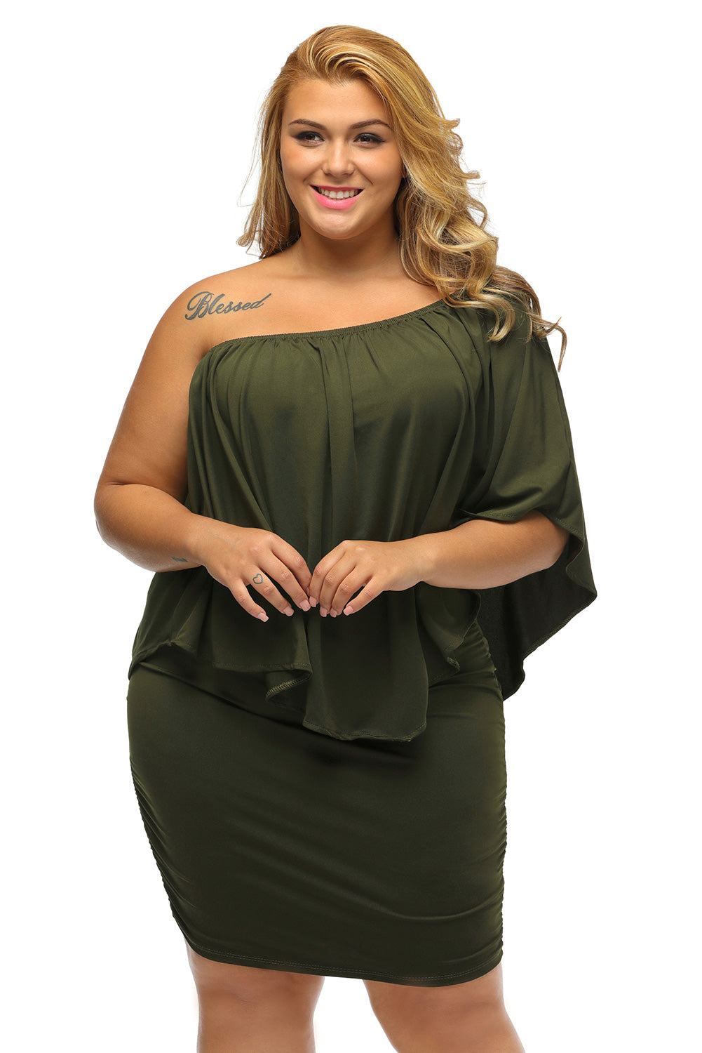 A| Chicloth Plus Size Multiple Dressing Layered Army Green Mini Poncho Dress-Plus Size Dresses-Chicloth