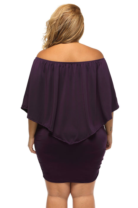 A| Chicloth Plus Size Multiple Dressing Layered Purple Mini Poncho Dress-Plus Size Dresses-Chicloth