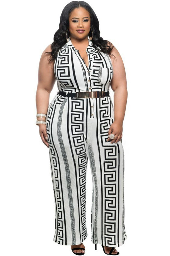 Chicloth Plus Size White Print Gold Belted Jumpsuit-Jumpsuits & Rompers-Chicloth