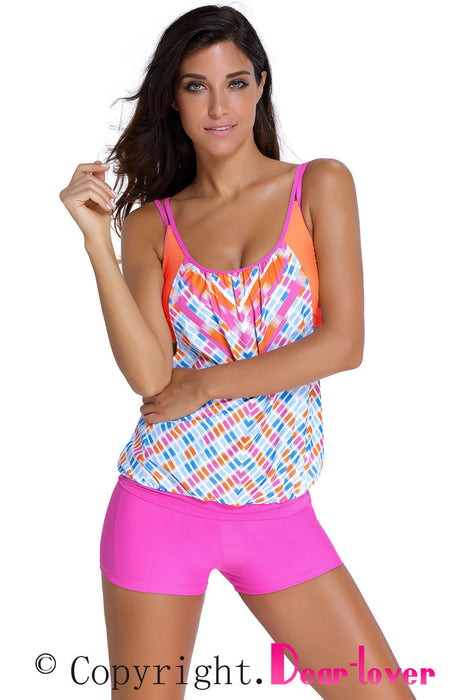 Chicloth Printed Layered-Style Rosy Tankini with Swim Trunks-Tankinis-Chicloth