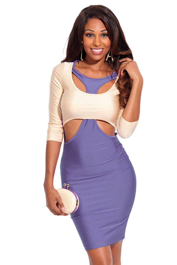 Chicloth Purple Beige Two Tone Cut out 3/4 Sleeves Bodycon Dress