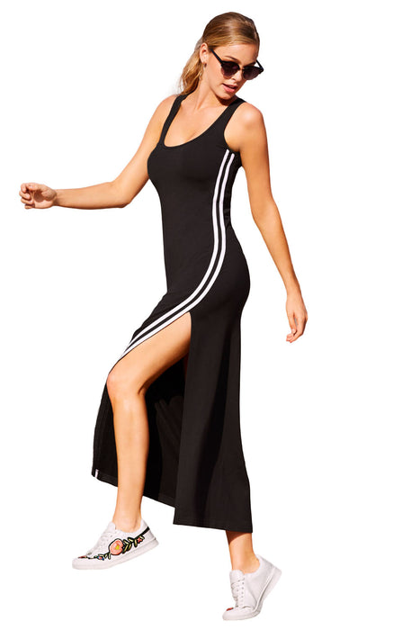 Z| Chicloth Racer Stripe Detail Black Sleeveless Maxi Dress-Chicloth