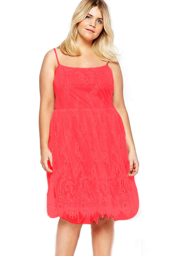 Chicloth Red Big Girl Sweet Lace Skater Dress-Plus size Dresses-Chicloth