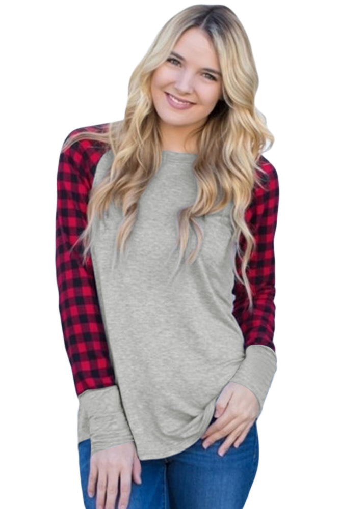 Chicloth Red Black Plaid Sleeve Grey Top - 2XL / Grey