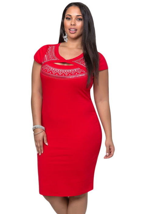 Chicloth Red Curvaceous Cutout Foil Print Bodycon Dress-Plus size Dresses-Chicloth