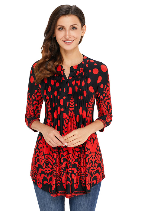 Z| Chicloth Red Floral Notch Neck Pin-tuck Tunic-Chicloth