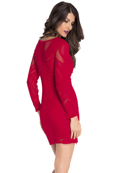 Chicloth Red Lace Nude Illusion Long Sleeves Bodycon Dress