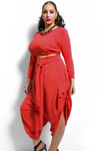 Chicloth Red Plus Size Crop Top Draped Convertible Pants Set