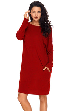 Chicloth Red Pocketed Loose Fit Dress