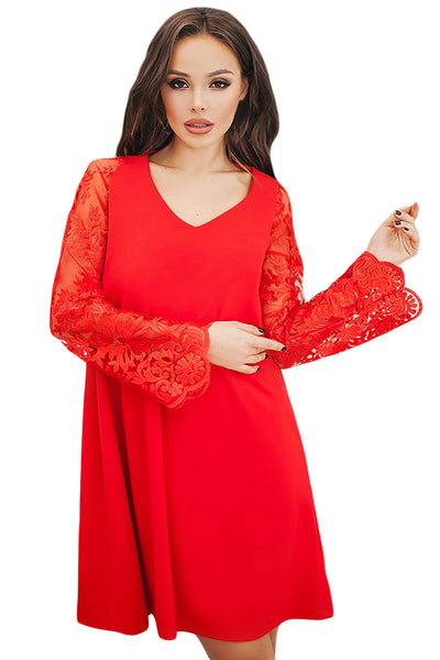 Chicloth Red Sheer Floral Sleeve Swing Dress