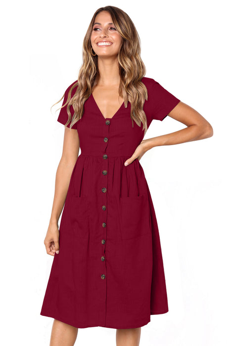Z| Chicloth Red Stylish Button Front Midi Dress with Pockets-Chicloth