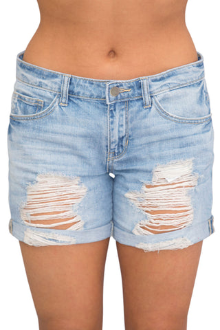 Z| Chicloth Rolled Cuffs Distressed Denim Shorts