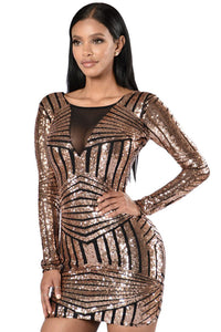 Chicloth Rose Black Open Back Long Sleeve Sequin Dress